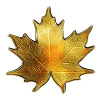 Vintage Hroar Prydz Norway Fall Yellow Maple Leaf Sterling Enamel Brooch