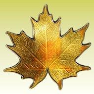 Vintage Hroar Prydz Norway Fall Yellow Maple Leaf Sterling Enamel Brooch