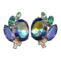 Juliana Style Blue Green Watermelon Vitrail Rhinestone Earrings