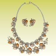 Vintage 60s Thermoset Acorn Leaf Necklace Bracelet Earrings Set