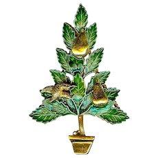 Charming 1960s Original by Robert Partridge Pear Tree Christmas Brooch Pin