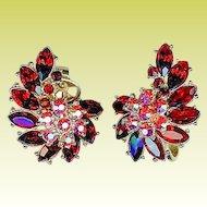 Vintage 1950s Crown Trifari Cherry Red Rhinestone Earrings