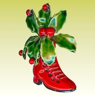 1960s Original By Robert Red Enamel Boot Holly Christmas Brooch
