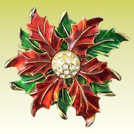 Eisenberg Ice Red Green Enamel Poinsettia Christmas Brooch