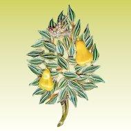 Vintage Benedikt NY Partridge Pear Tree Enamel Christmas Brooch