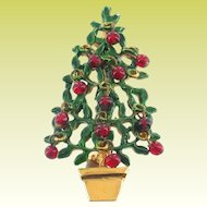 Vintage 60s Original by Robert  Dangling Red Baubles Christmas Tree Brooch