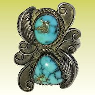 Vintage Navajo Sterling Silver Turquoise Blossom Ring Size 6.25