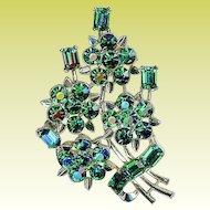 Vintage Lisner Emerald Green Rhinestone Bouquet Brooch