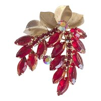 Juliana D&E Cherry Red Rhinestone Metal Leaf Brooch PIn