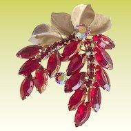 Juliana D&E Cherry Red Rhinestone Metal Leaf Brooch PIn