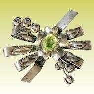 Vintage Hobe WWII Sterling Peridot Rhinestone Floral Bow Brooch