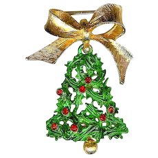Vintage 1960s MYLU Christmas Bell Holly Berry Brooch Pin