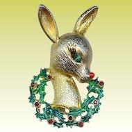 MYLU 1960s Rudolph Reindeer Holly Berries Christmas Brooch Pin