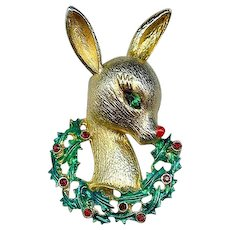MYLU 1960s Rudolph Reindeer Holly Berries Christmas Brooch Pin