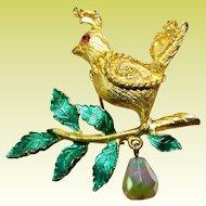 Vintage Mylu Partridge in a Pear Tree Christmas Xmas Brooch Pin