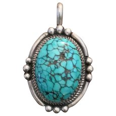 Fine Vintage Navajo Spiderweb Turquoise Sterling Silver Pendant