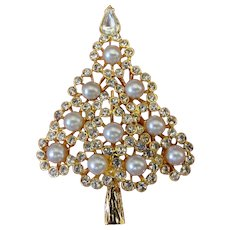 Rare 1980s Napier Clear Crystal Faux Pearl Christmas Tree Brooch Pin