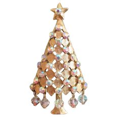 Vintage MYLU Christmas Tree Rhinestone Dangles Brooch Pin