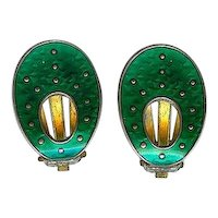 Vintage Oystein Balle Norway Sterling Green Enamel Clip Earrings