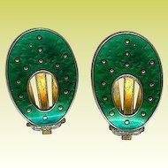 Vintage Oystein Balle Norway Sterling Green Enamel Clip Earrings