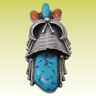 Amazing Vintage Navajo Sterling Silver Turquoise Coral Squash Blossom Pendant