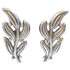 Vintage Mistletoe Hilario Lopez Mexico Sterling Silver Earrings