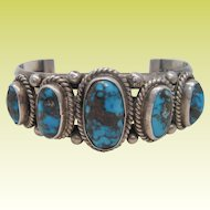 Fine Vintage Navajo Sterling Silver Persian Turquoise Cuff Bracelet