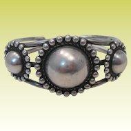 Vintage 1930s Navajo Sterling Silver Concho Cuff Bracelet