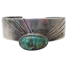 Vintage Navajo Sterling Silver Turquoise Modernist Cuff Bracelet