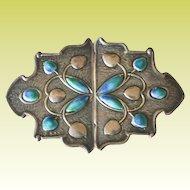 Antique English Art Nouveau 1907 Sterling Silver Enamel Sash Buckle