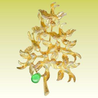 Vintage Cadoro Dangling Pear in Partridge Flock Christmas Tree Brooch Pin