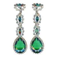 Early 1960s K.J.L. Kenneth Jay Lane Emerald Green Long Dangle Earrings