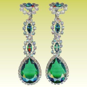 Early Vintage K.J.L. Kenneth Jay Lane Emerald Green Long Dangle Earrings