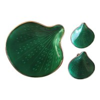 Vintage Finn Jensen Norway Green Sea Shell Sterling Silver Brooch Earring Set