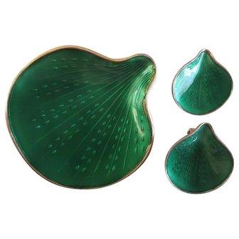 Vintage Finn Jensen Norway Green Sea Shell Sterling Silver Brooch Earring Set