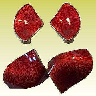 Superb Ivar Holt Norway Modernist Sterling Silver Red Enamel Brooch Earring Set