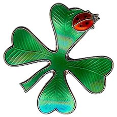 David Andersen Norway 4 Leaf Clover Ladybug Sterling Green Enamel Pin Pendant
