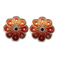 Vintage David Andersen Norway Red Sterling Enamel Earrings
