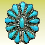 Fine Handmade Old Zuni Indian Sterling Turquoise Cluster Ring 7.5