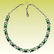 Lovely Vintage 1950's-60s Lisner Emerald Cut Green Rhinestone Necklace