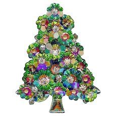 Vintage Swarovski Margarita Rhinestone Christmas Spring Tree Brooch Pin