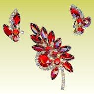 Striking 1960s Juliana D&E Cherry Red Brooch Earring Set