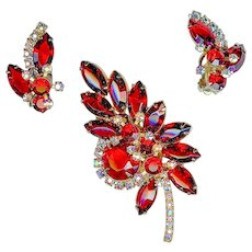 Striking 1960s Juliana D&E Cherry Red Brooch Earring Set