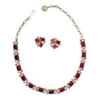 Vintage Lisner Ruby Red Necklace Earring Set
