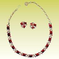 Vintage Lisner Ruby Red Emerald Cut Necklace Earring Set