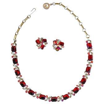 Vintage Lisner Ruby Red Emerald Cut Valentine's Necklace Earring Set