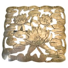 Vintage Stavor Gregor Panis Lotus Flower Arts and Crafts Brooch Pin