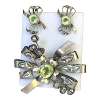 Vintage 1940s Hobe Lily of the Valley Brooch Pin Earring Set