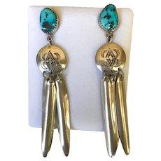 Vintage Navajo Sterling Silver Turquoise 3.5 Inch Dangling Earrings