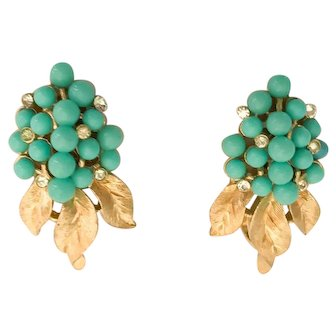 Lovely 1960s Trifari Faux Turquoise Sparkly Chaton Earrings